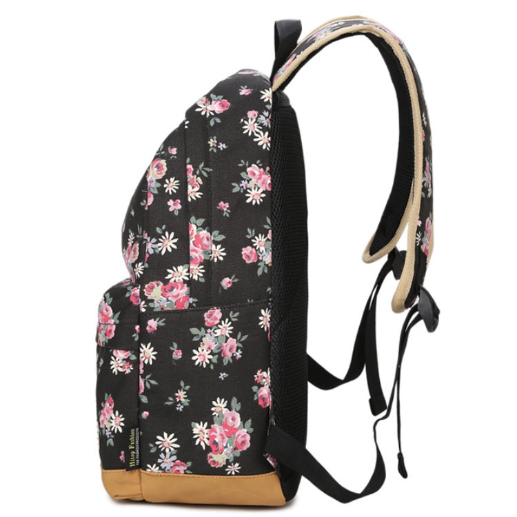 product-Osgoodway-Osgoodway Simple Custom Flower Print Design Canvas Travel School Backpack for Wome