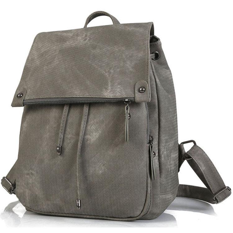 Osgoodway2 Brand Women Leather Backpacks Female Fashion Rucksack Mochila Grey Black Travel Backpack