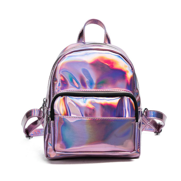 Osgoodway2 Small Fashion Travel School Bag Bookbag Pink Mini Girls Fancy Glitter Holographic Backpack
