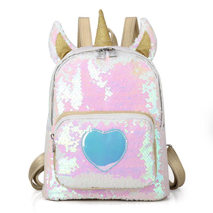 Osgoodway2 Girl Sequin Unicorn School Backpack Bag Cute Sequin Laser Backpack Women Bag