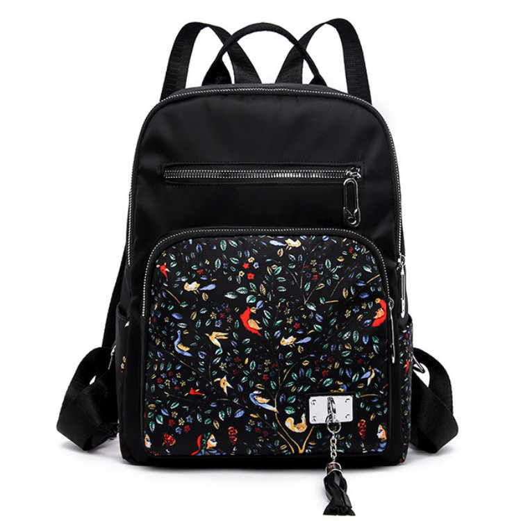 Osgoodway2Nylon Flower Printed Women Bag Backpack Fashion Girls School Backpack for Outdoor Travel