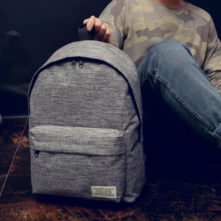 product-Osgoodway-Osgoodway New Trendy Simple Student School Bag Mini Canvas Backpack Couple Bag-img