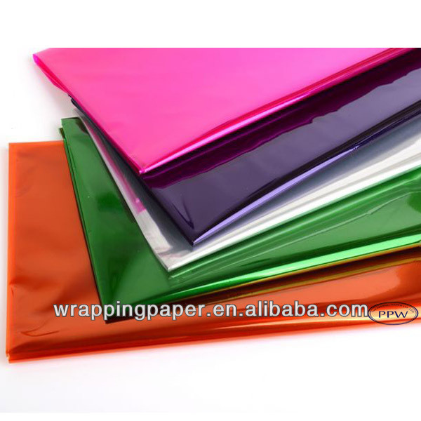 Flat sheets colored cellophane paper for gifts wrapping plastic cellophane