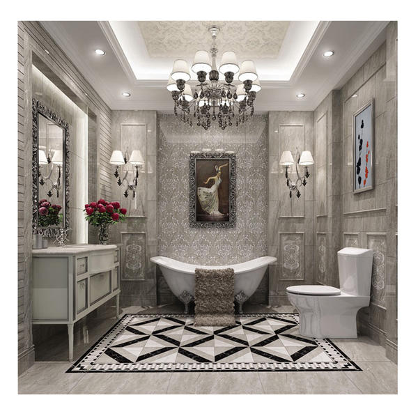 Non-slip bathroom floor marble tile