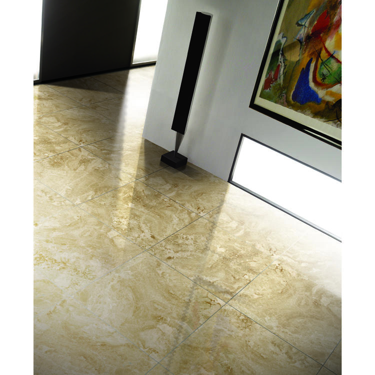 600x600 Cappuccino Glazed Polished Porcelain Marble Stoneware Tile