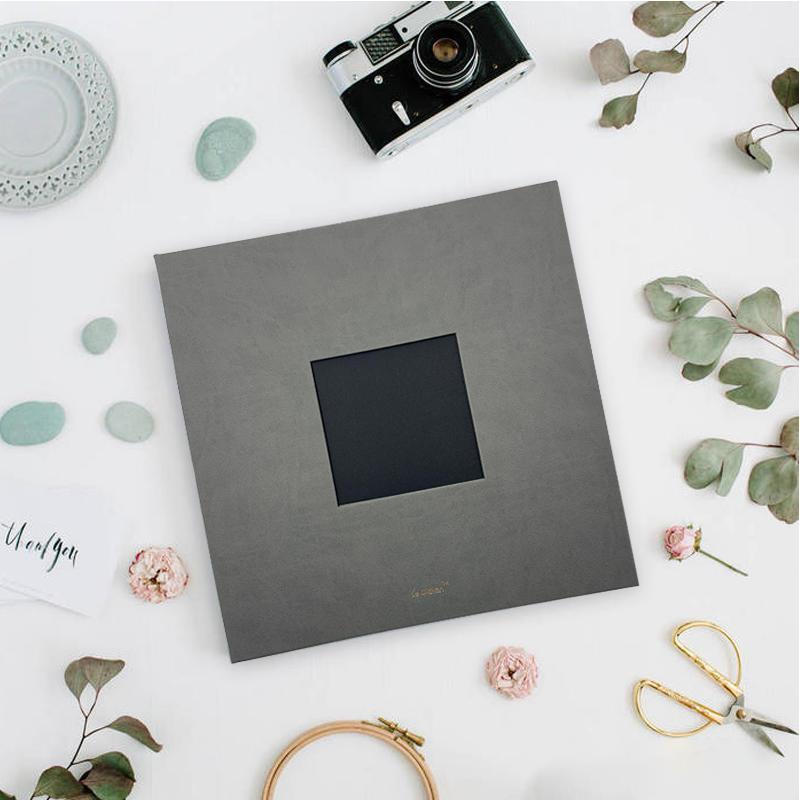 product-Custom logo big inner page linen pu leather self adhesive photo album for wedding birthday-D-1