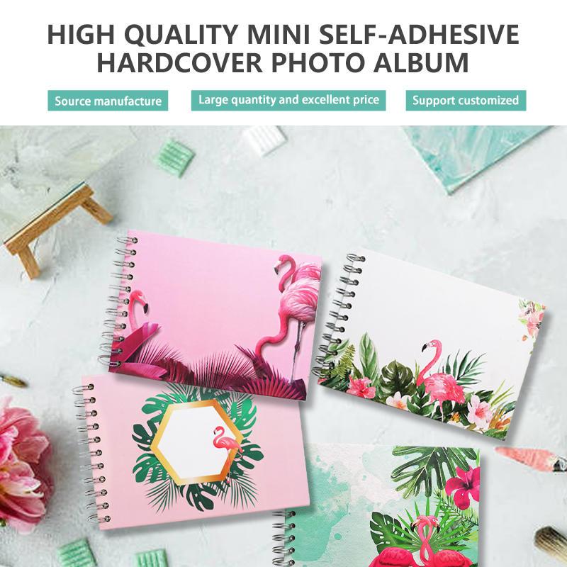 product-Dezheng-Mini size self adhesive DIY photo album Coil spiral binding album custom flamingo-im-1