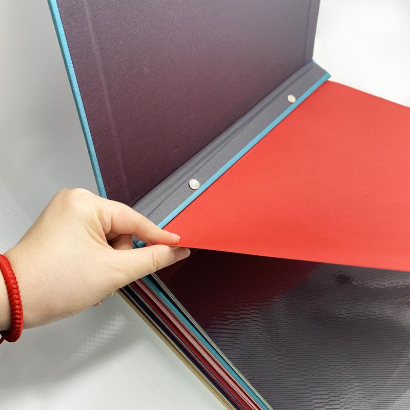 product-Dezheng-Custom self adhesive Colorful PU leather cover scrapbook photo album-img-1