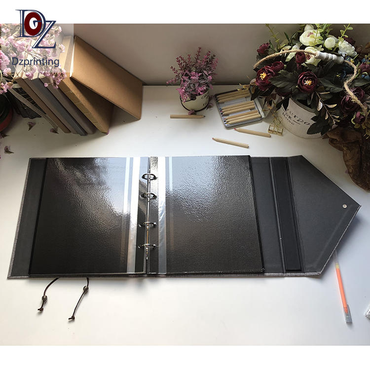 product-DIY Style Grey Fabric Cover Big 12X12 Inches Self Adhesive Scrapbook Photo Album With 4x6 Wi-2