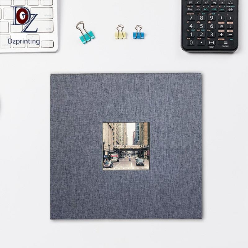 DIY Style Grey Fabric Cover Big 12X12 Inches Self Adhesive Scrapbook Photo Album With 4x6 Window