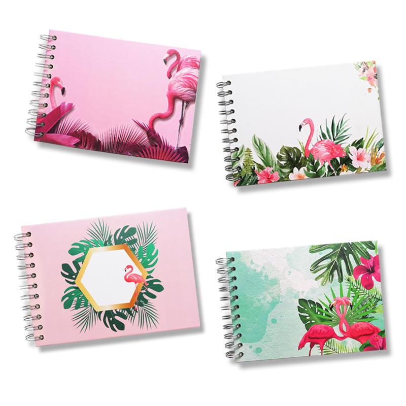 Mini size self adhesive DIY photo album Coil spiral binding album custom flamingo