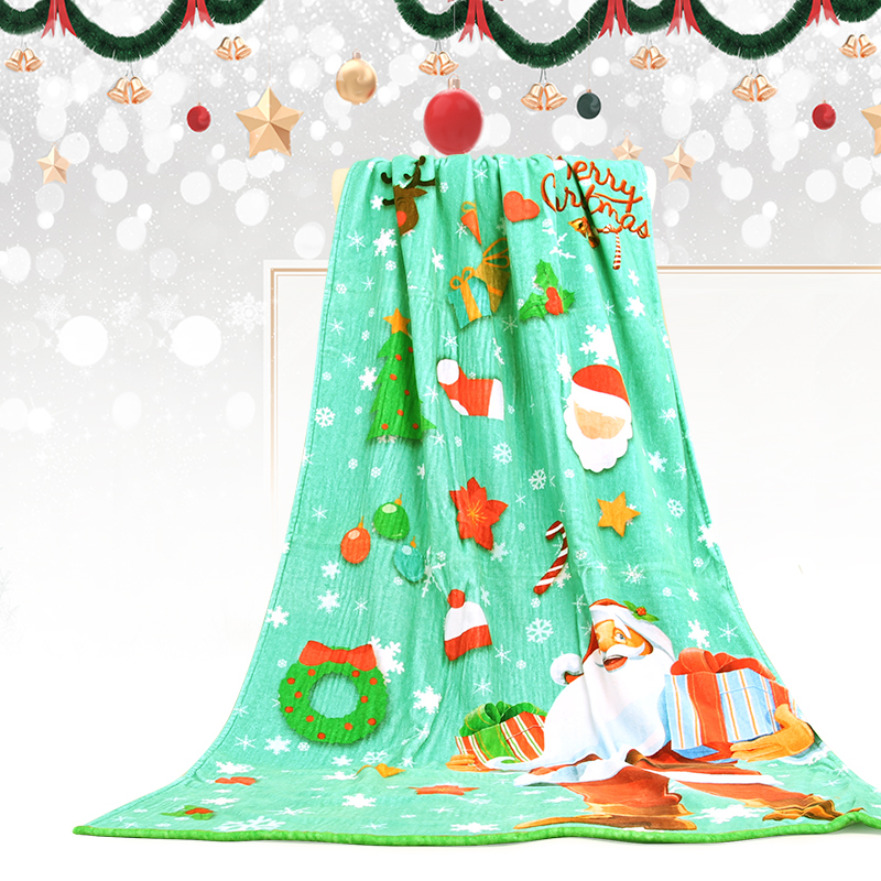 100% Cotton Custom Digital Print Bath Towel Christmas Santa Bath Towel