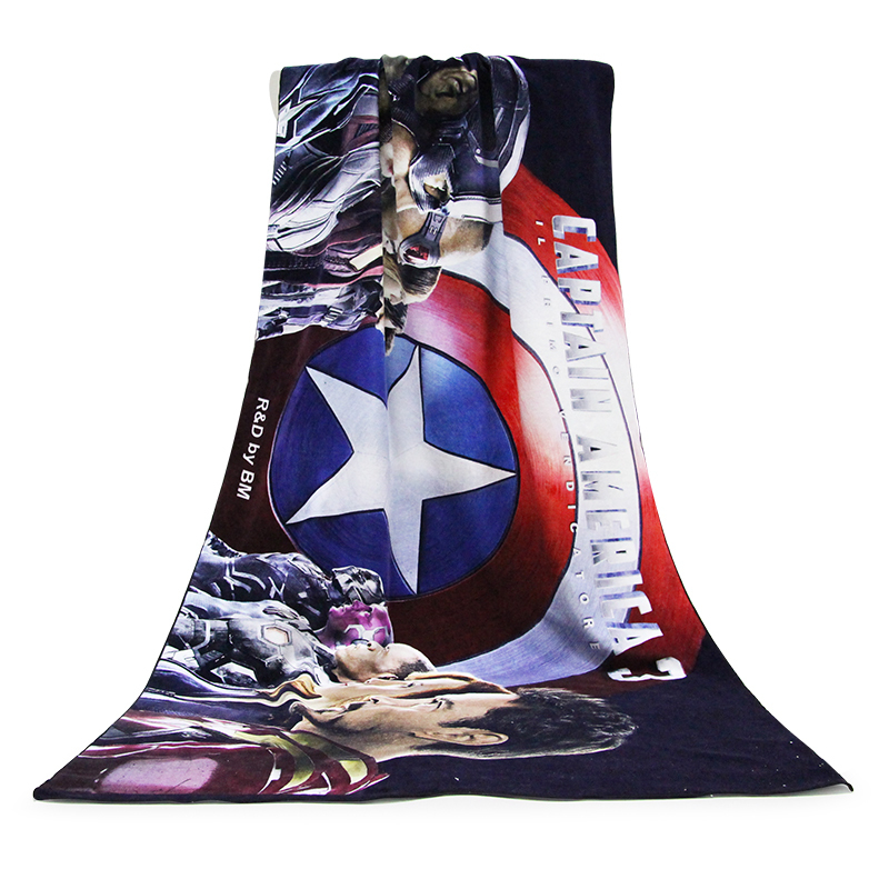 Top Selling The Avengers pattern 100% Cotton Custom Digital Print Bath Towel
