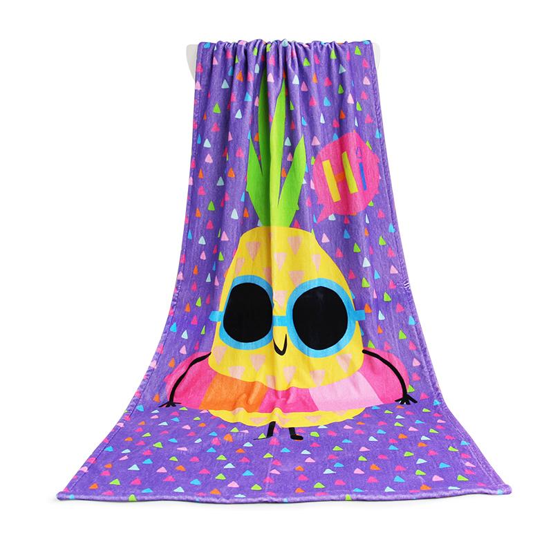Top Selling Purple bird pattern 100% Cotton Custom Digital Print Bath Towel