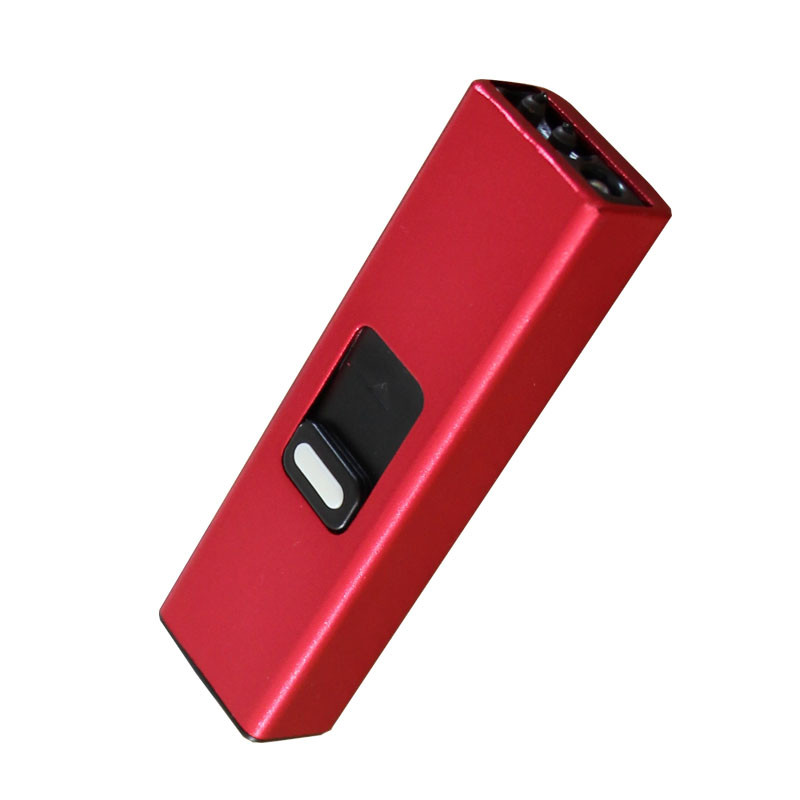 Gift Creative Plastic Windproof Flameless USB Rechargeable Keychain Lighter With Flashlight