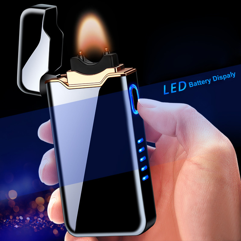 2020 New Big Flame USB Charging Lighter High Power Arc Plasma Lighter Electronic Rechargeable Cigarette Lighter Metal Igniter