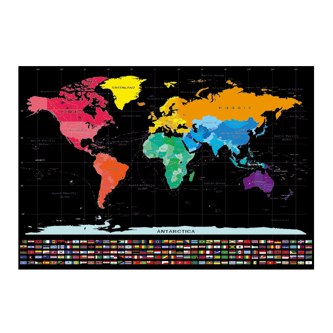 Personalized Printed DIY World Scratch Out Map With National Flag And Low MOQ