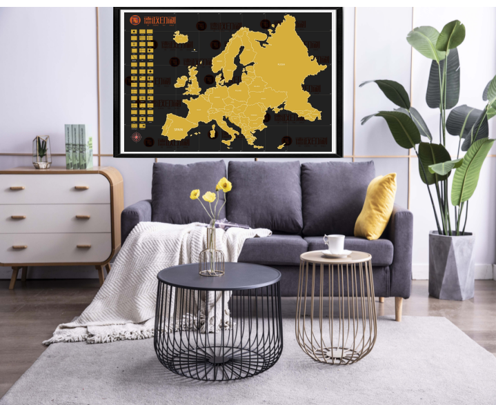 New Design Personalized Design Deluxe Edition Scratch Off Europe Map For Traveler with flags
