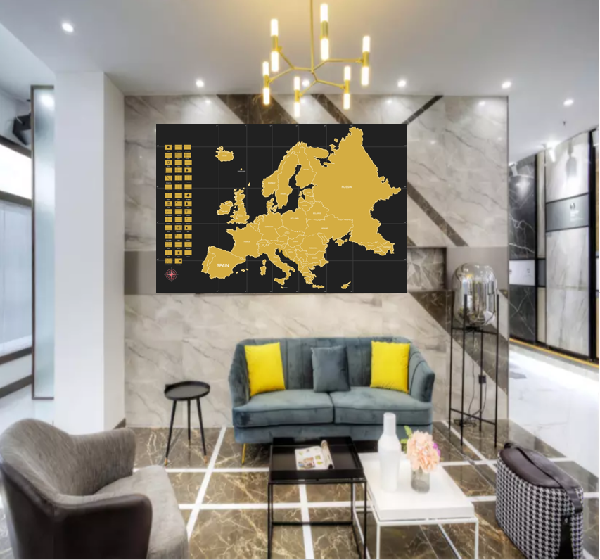Deluxe Edition Scratch Off Europe Map For Traveler with flags,with custom logo for FBA