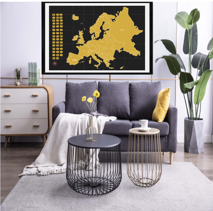 Customized logo gold glossy scratch off Europe map scratch poster