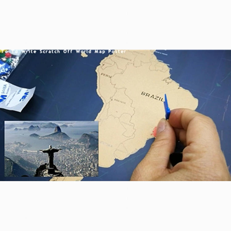 250 Grams Coated Paper Gold Foil Layer Watercolor Scratch Off Travels Map