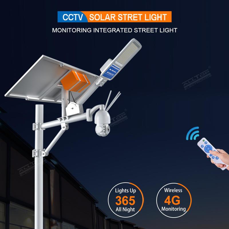 ALLTOP Remote Wireless Control 80w Monitor Solar Street Light With 4G/Wifi Cctv Camera