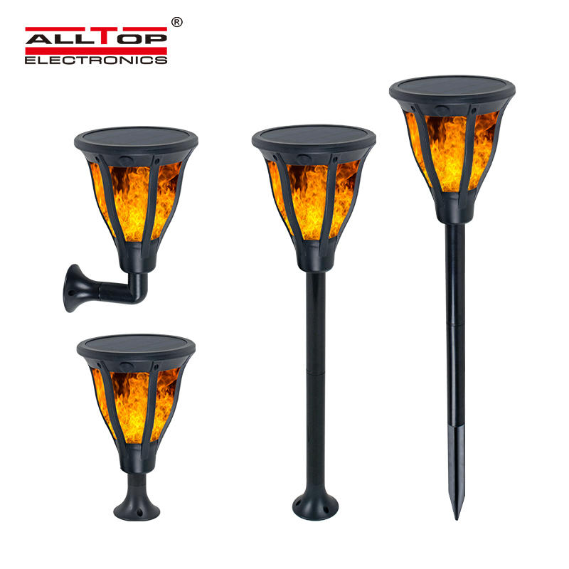 ALLTOP High quality ABS housing outdoor park raod lighting 2w ip65 flame led solar garden light