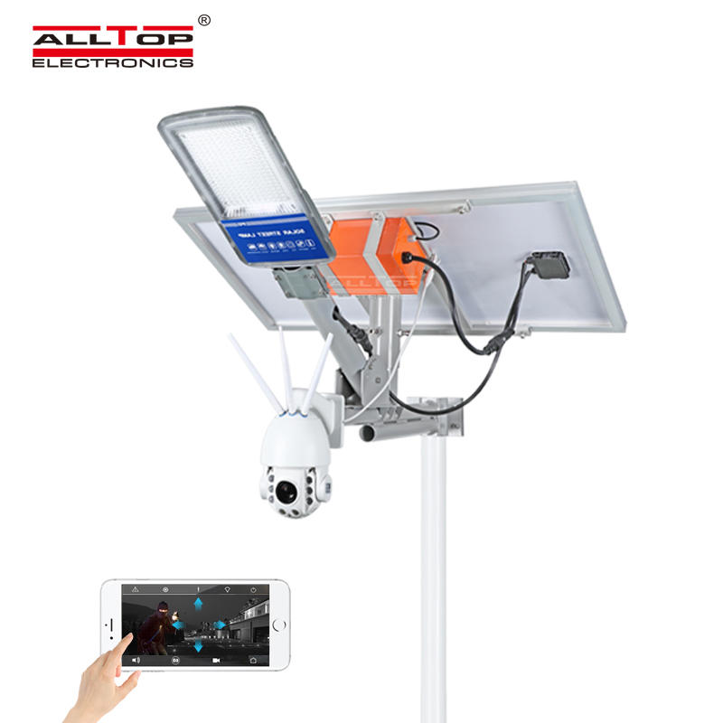 ALLTOP Remote Wireless Control 80w Solar Street Light With Wifi Cctv Camera