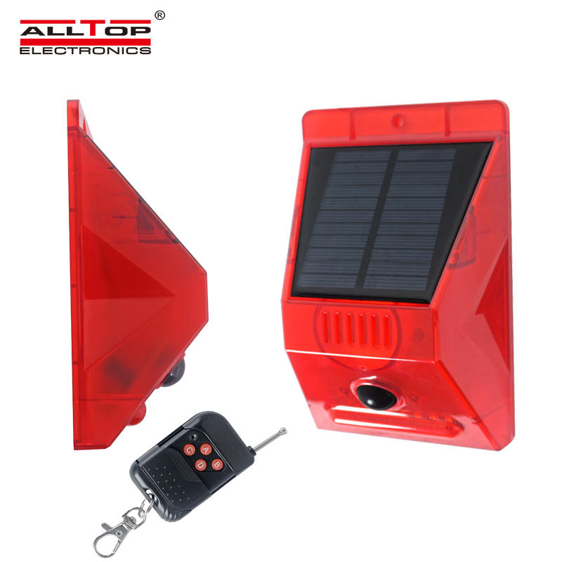 ALLTOP NEW design solar alarm with RF remote 129db siren solar home alarm system outdoor solar alarm light