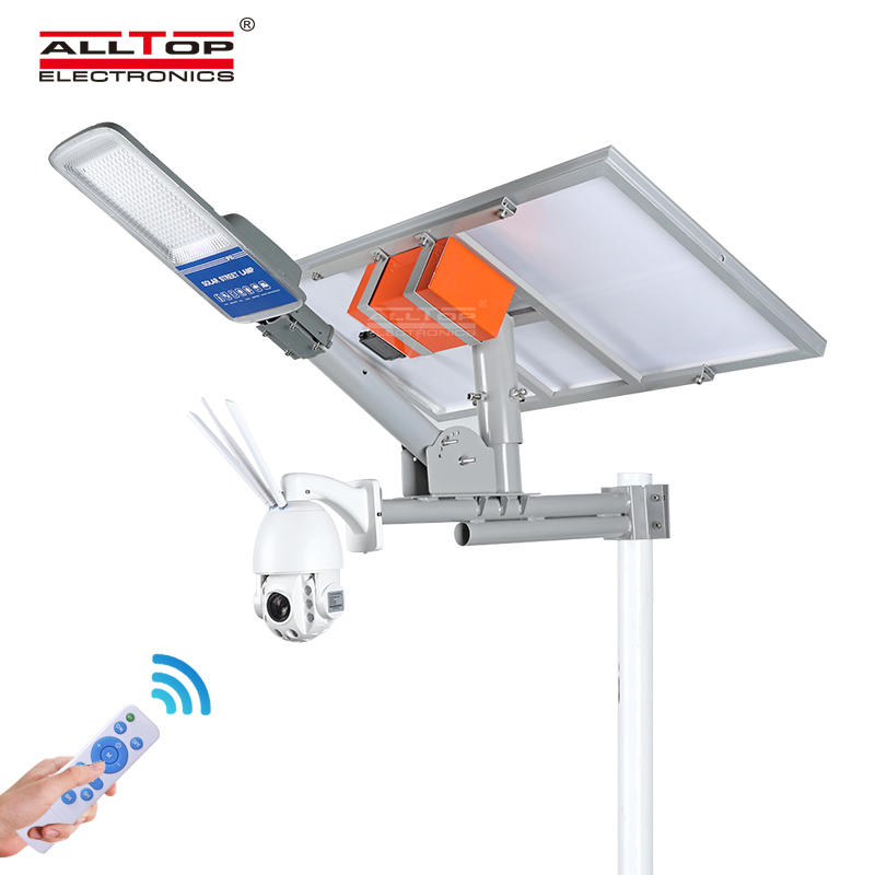 ALLTOP Remote Wireless Control 80w Monitor Solar Street Light With 4G/Wifi Cctv Camera