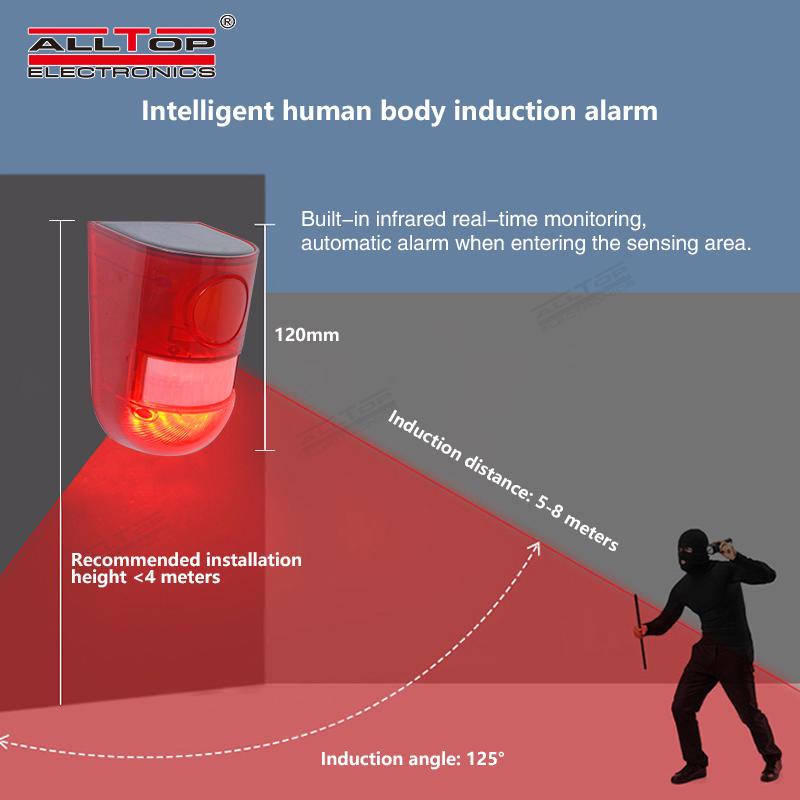 ALLTOP Security led light 365 days long work time motion sensor solar sensor security alarm light