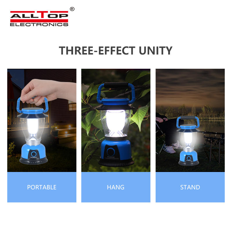 ALLTOP Outdoor Hand Power Generation LED hanging lanterns rechargeable Solar Camping Light
