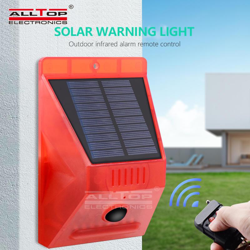 ALLTOP NEW design solar alarm with RF remote 129db siren solar home alarm system outdoor solar alarm light