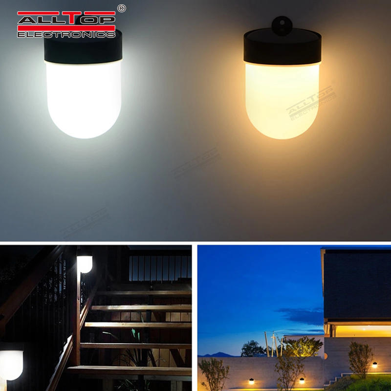 ALLTOP High lumen bridgelux smd waterproof outdoor 3w led double color solar wall light
