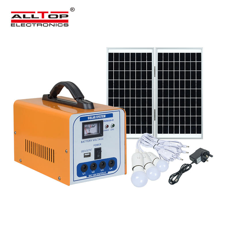 ALLTOP Hot sale off grid Lead acid battery solar energy system home 30w solar power system with the bulb