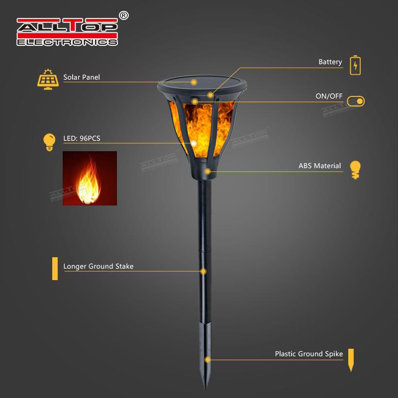ALLTOP High quality ABS housing outdoor park raod lighting 2w ip65 flame led solar garden light