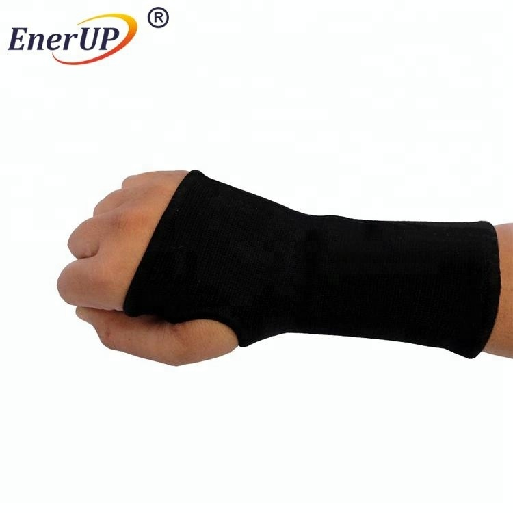 Tennis Playing Sports Protective Adjustable Compression Black Polyester Elastic Wrist Sleeve
