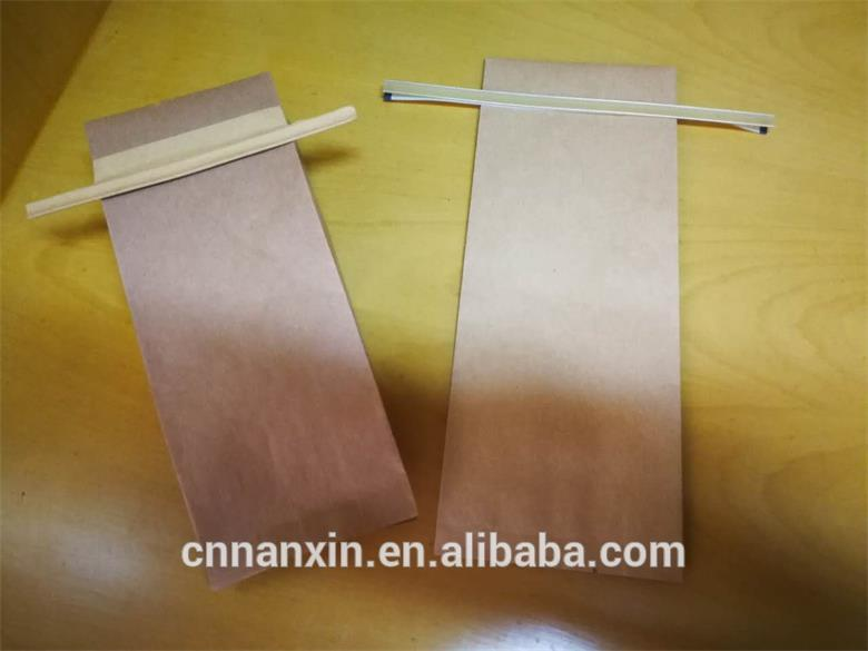 tin tie kraft paper packaging flat bottom bag