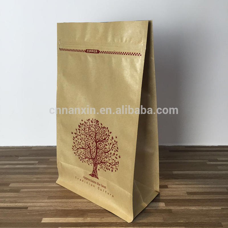 Fancy design kraft paper bag with logo print plastic lining