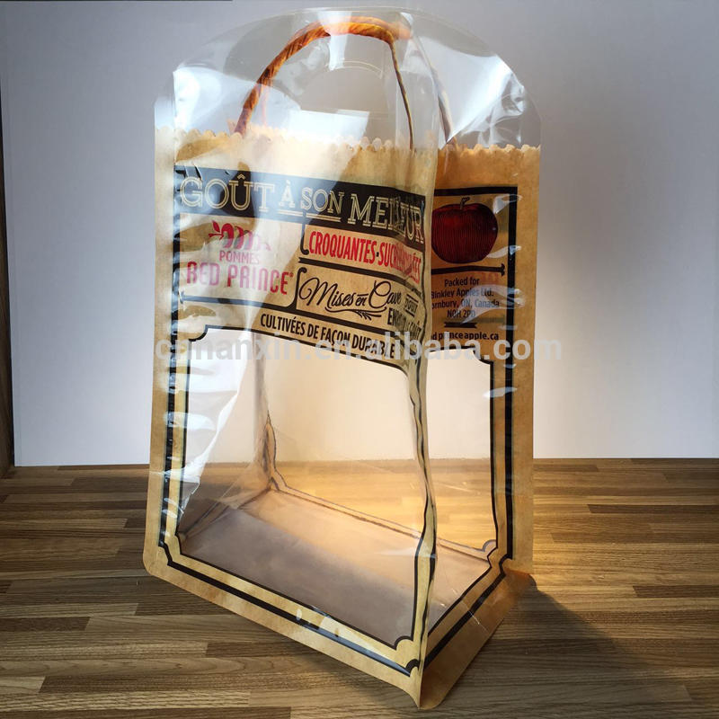 Transparent food packaging bag for fruits with handle