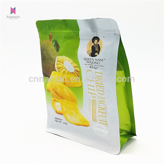 food packaging and printing bag flat bottom bag with zipper for dried fruits