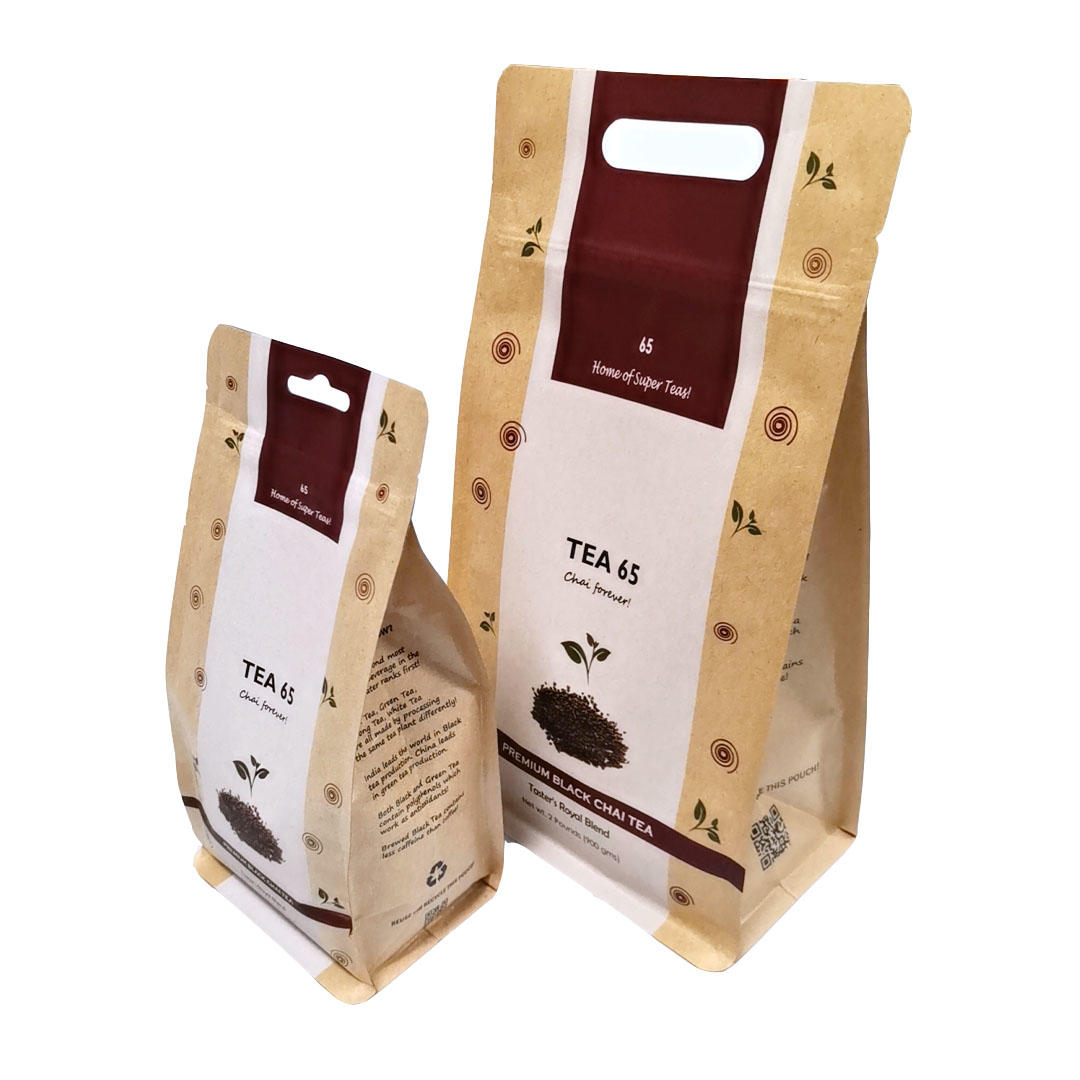 Shape handle kraft paper pouch with zipper for Tea packing