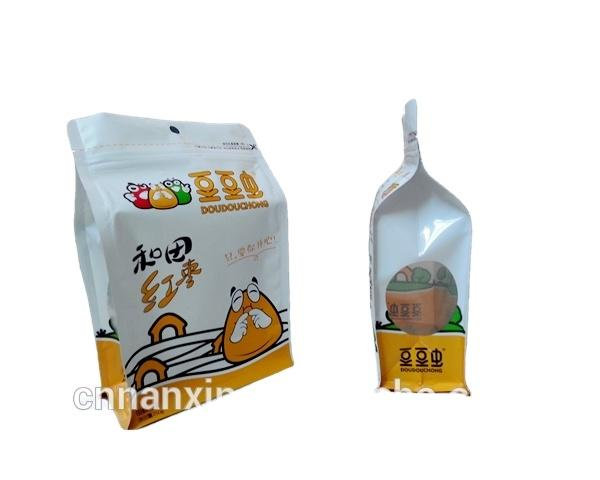 foil lined snack food packaging side gusset ziplock bag with flat bottom