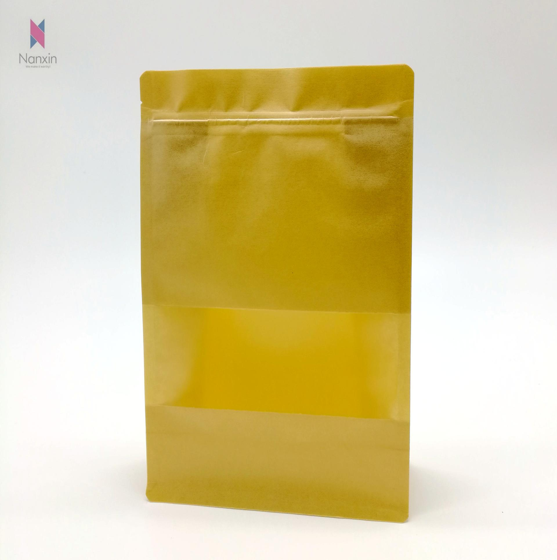 china supplier zipper brown kraft paper bag with clear window