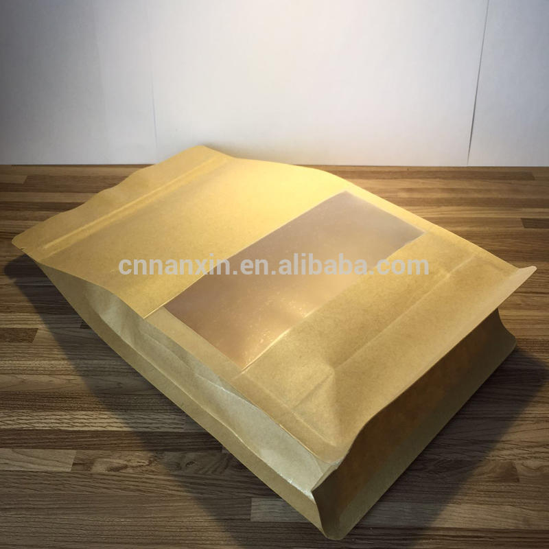 Resealable kraft paper storage bag with window
