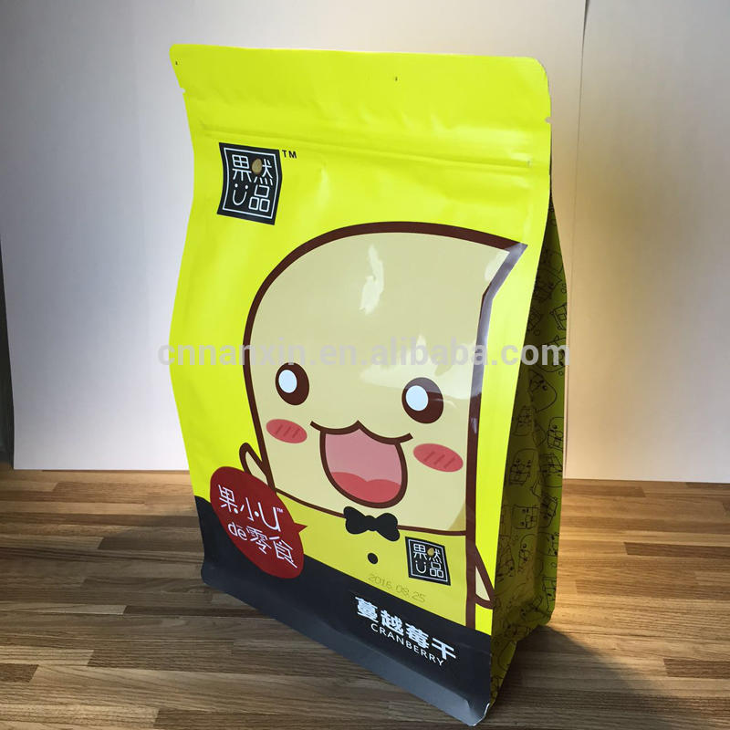 Leisure food UV printing flat bottom bag with zipper