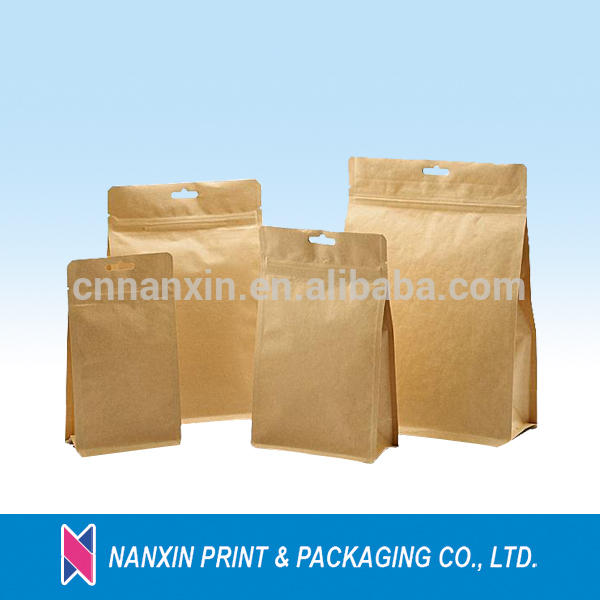 Kraft paper pouch coffee packing bags with hand hole