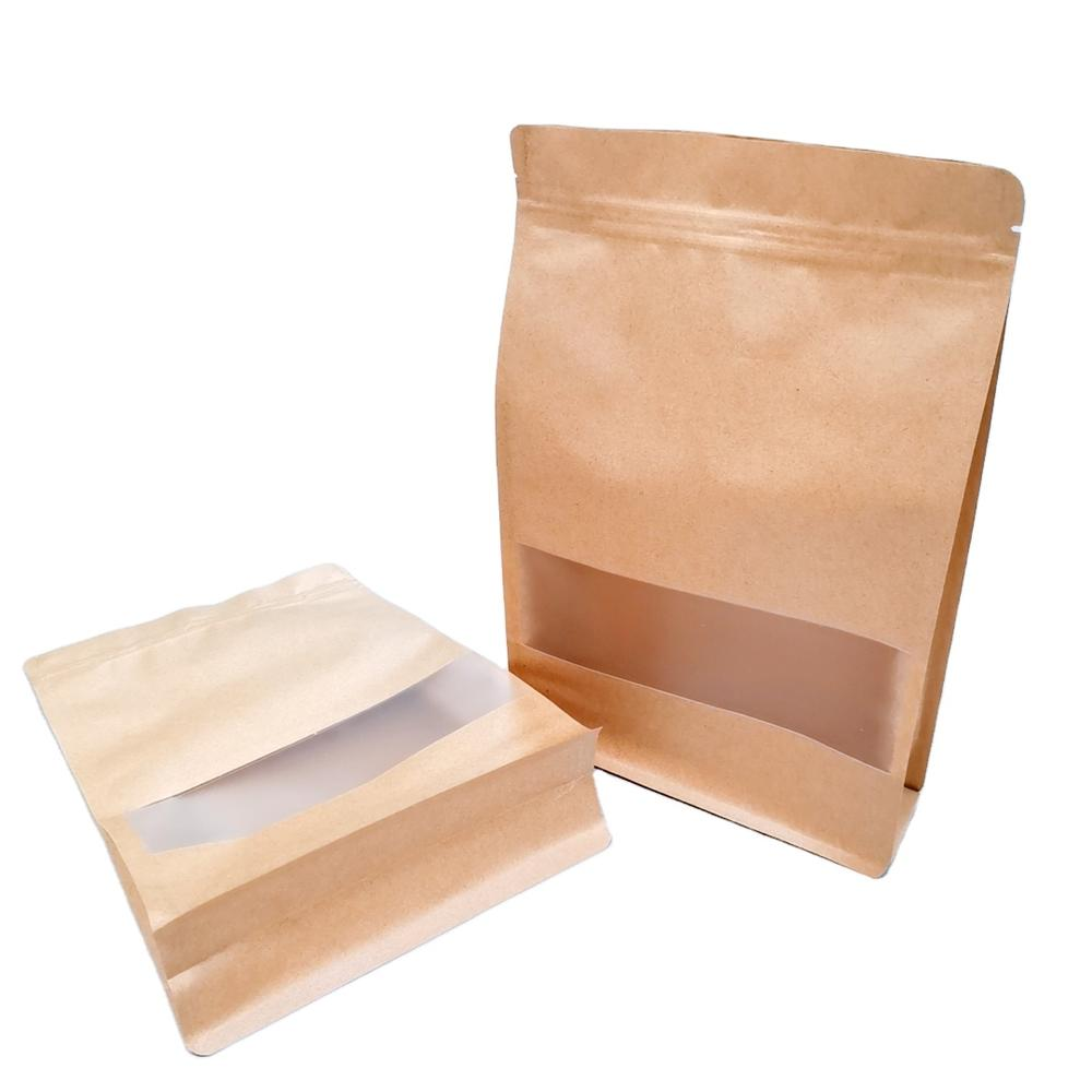 Resealed zipper kraft paper Bag with window for Grain/Nut/Snack
