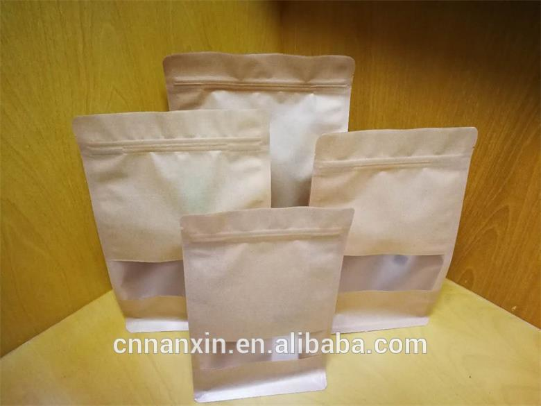 different sizes of ziplock flat bottom pouch kraft paper pouch with matt window for food