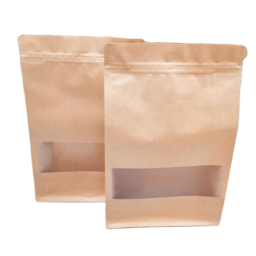 Resealed zipper kraft paper Bag with window for Grain/Nut/Snack